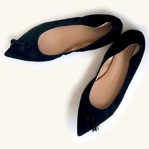 J Crew Black Suede Leather Tassel Ballerina Flats
